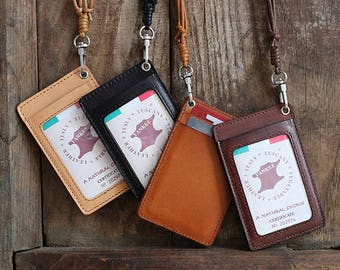Genuine Leather Handmade ID badge holder pass holder cord detachable name tag holder gift for him gift for her