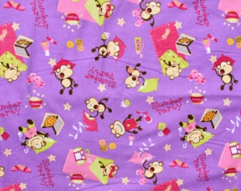 Fabric by the 1/2 Yard - Slumber Party Monkeys Flannel
