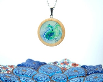 unique necklace,gift for mom,turquoise color necklace,paisley necklace,original watercolor abstract,unique gift for women ,Australian seller