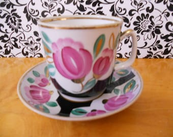 Soviet vintage tea/coffee set cup with saucer Drinkware from USSR Handpainted porcelain cup with saucer Soviet design of 80-s