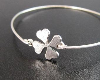 Silver 4 Leaf Clover Bracelet, Good Luck Charm Bracelet, Irish Bracelet, Irish Jewelry, 4 Leaf Clover Jewelry, Bangle, Good Luck Bracelet
