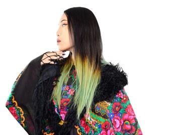 russian roses shawl, black cape, floral cape, pavlovo posad, black wool shawl, faux fur collar, mongolian lamb jacket coverup colorful shawl