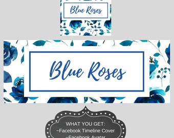 Facebook Cover, Timeline Cover, Floral Cover, Blue Facebook Cover, Facebook Avatar, Shop Graphics, Business Branding, Watercolor Banner