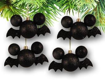 Mickey Bat-Shaped Halloween Ornaments-Set of (4) (Disney)