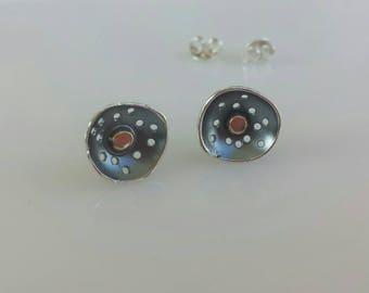 Poppy silver gold stud earrings