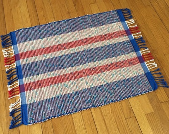 Rag Rug Red White and Blue Handwoven
