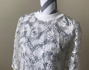 1960s metallic lace dress