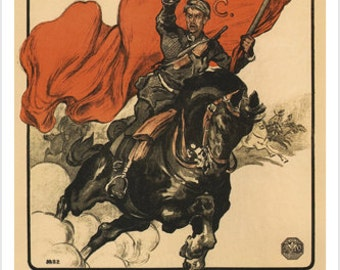 Proletarian Getting On Horse Vintage Poster by Petrov Soviet Union Propaganda 1920
