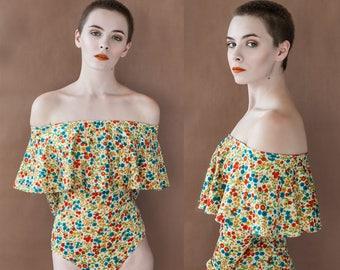 Floral Off the Shoulder Ruffle Long Sleeve Bodysuit XS S M L XL XXL