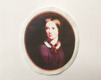 Charlotte Bronte Patch - Round Color Printed Sew-On Patch of Jane Eyre Author - Gothic Romance Patches - Literary Patches - Jane Eyre Patch