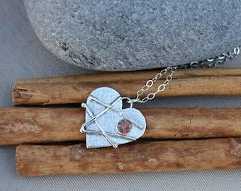 Mended Heart. Sterling Silver Heart Opal Mosaic. Large heart necklace. Opal. Broken heart. Healed broken heart. Love heart.