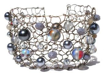 moonstone bracelet arm cuff bracelet beaded bracelets labradorite bracelet gray bracelet limited edition wire knit bracelet for her