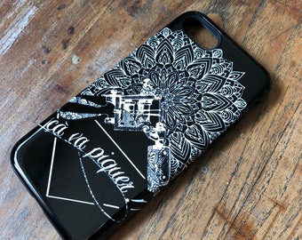 Case - Black shockproof - Inked Mandala pattern