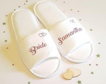 Pantofole di damigella d'onore, personalizzato lusso matrimonio Pantofole, Pantofole partiti nuziale, Pantofole sposa, matrimonio, addio al nubilato, Pantofole Spa