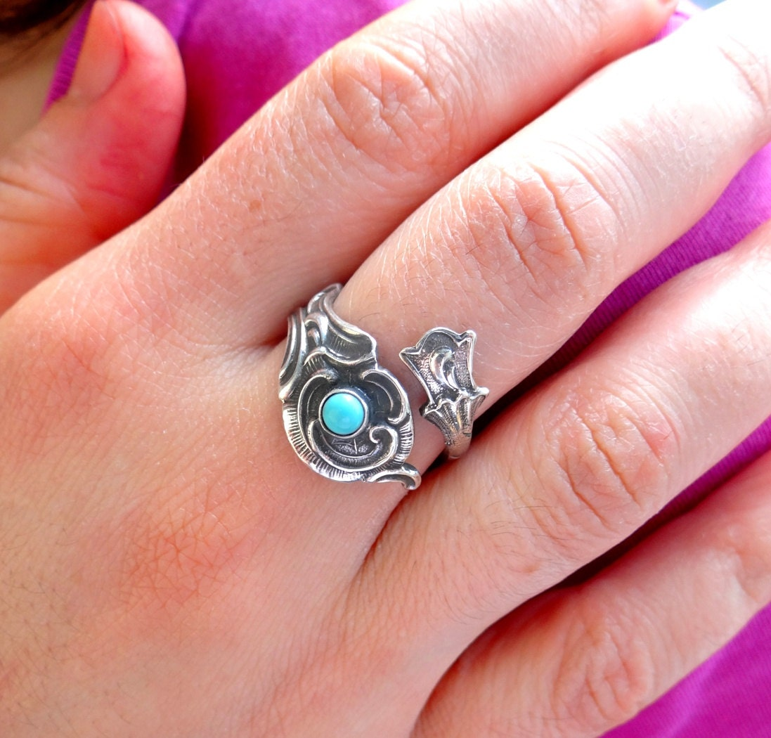 Turquoise Ring Sterling Silver Ring Spoon Ring Silver