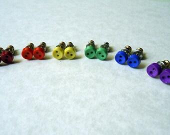 Custom Rainbow Button Earrings
