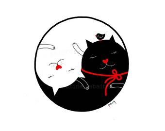 Cat Art, Yin Yang Art, Cat Print, Cat Lover Wall Art, Cat Illustration, Cat Gift, Modern Decor, Cat Decor