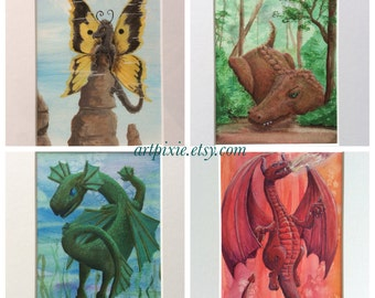 Original 5x7 watercolor & acrylic paintings elemental dragons; earth, air, fire, water; matted to 8x10, fantasy painting, home decor, art