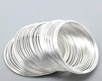 "100 Silver Memory Wire Bracelet or Earring Loops -  50 - 55mm  - 2"" - 2 1/8""   - Ships IMMEDIATELY  from USA - T42"