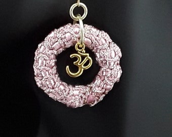 Fabric wrapped Om, Aum earrings, Buddhism, Hinduism, Spiritual, Yoga