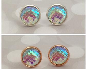 Opal Mermaid Earrings, Mermaid Scale Studs, Dragon Scale Earrings, Mermaid Jewellery, Dragon Jewelry, Fantasy Earrings, Mermaid Gift
