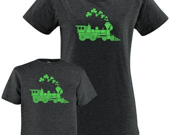 St Patricks Day Shamrocks Train Matching Mother Child Shirts, Mother Daughter, Mother Son, Mother Baby Mom and Kid shirt, Saint Patrick's