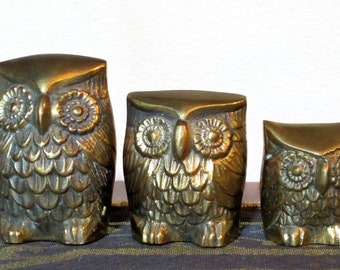 Vintage, Solid Brass, Owls,  Set of 3 Figurines, Paperweights, Bird Lover Collectibles