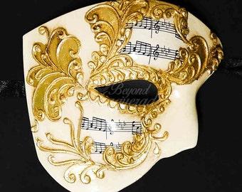 New! Men's Masquerade Mask, Gold Phantom Mask, Phantom of the Opera Mask, Mask with Music Notes, Masquerade Mask Men, Mardi Gras