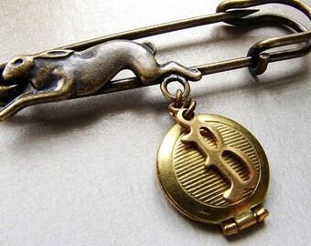 Personalized brooch initial locket, animal brooch, rabbit hare brooch, custom initial pin wedding bouquet pin