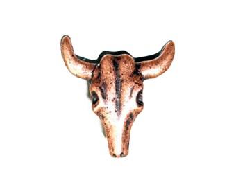 Longhorn Skull Splashback Concho Decorative Leathercraft Accessory