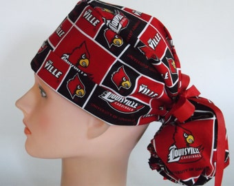 University of Louisville Cardinals fabric Ponytail - Womens surgical scrub cap, scrub hat, Nurse surgical cap, 9-900b