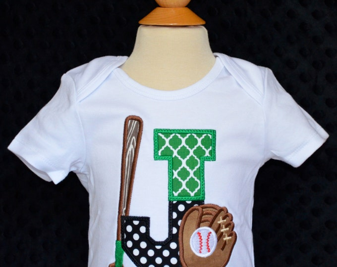 Featured listing image: Personalized Initial Baseball Softball with Bat & Glove Applique Shirt or Bodysuit Girl or Boy