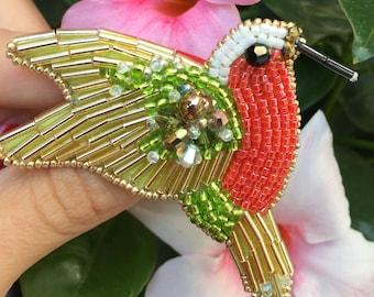 "Embroidered brooch ""Hummingbird"""