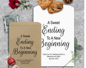 Personalized Wedding Candy Bags (24 BAGS) - Wedding Treat Favor Bags - Candy Bags Wedding - Sweet Ending New Beginning - WCBSENB