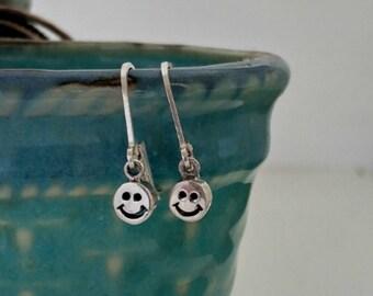 Happy Face Emoji Earrings, 925 Sterling Silver, Dangle earring, BFF jewelry inspirational fun