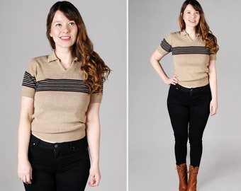 Vintage 1970's Striped Sweater Polo - Brown Tan Black Retro 70's 1970's Stripe Short Sleeve Cozy Casual Top Shirt - Size Medium