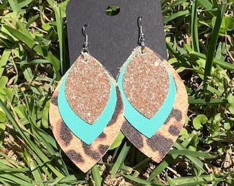 Cheyenne Cheetah & Teal Leather Earrings
