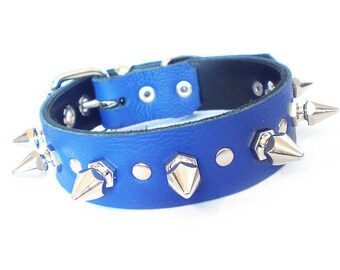 "1"" Soft Blue Leather Spiked Dog Collar with Decorative Spot Rivets & Chunky Hexagonal Spikes"