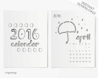 PRINTABLE 2016 Calendar Quirky