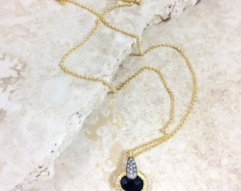 40% OFF Paragon (ONYX) necklace - gemstone pendant with pave black gold bail on a simple gold chain and tourmaline charm