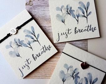 Just Breathe Friendship Bracelets, Seaglass Bracelet, Yoga Bracelet, Festival Accessories, Ohm Charm, Yoga lovers gift, Rose Gold Heart