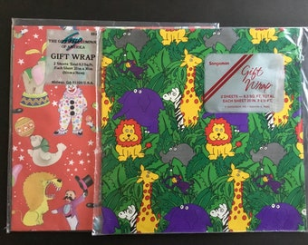 Vintage Gift wrapping paper, colorful lions, giraffes, Circus themes, Unused
