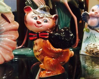 Norcrest Anthropomorphic Brown Bear in Tie and Hat with Lump of Coal on his Back Salt and Pepper Shakers made in Japan circa 1950s