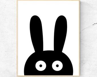 Monochrome Black  Bunny Wall Art, Nursery Wall Art, Child's Room Wall Art, Nursery decor - Instant Download