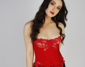 Red Satin Lace Corset