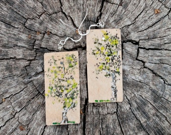 Wood Earrings with Aspen Painting