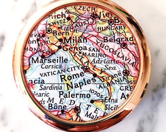 Italy Mirror Compact - Rose Gold - Compact Mirror - Makeup Mirror - Purse Mirror - Bridesmaid Gift - Honeymoon Gift - Italy Compact