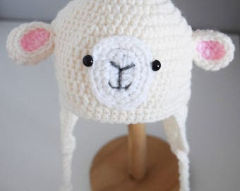 Crochet baby hat, Sheep hat, Newborn photo prop, newborn/baby hat, baby boy, baby girl, newborn prop, Animal hat, Pet hat