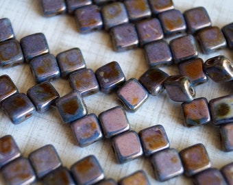 6mm CzechMates Tile Beads - Gold Luster - Purple Metallic - Picasso Czech Glass Beads - Two Hole Tile Beads - Bead Soup Beads