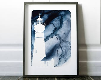 Lighthouse Print Silhouette Art, Lighthouse Art, Framed Large Artwork, Beach Decor, Nautical Decor, Coastal Seascape Art, Various Colours